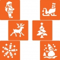 Plastic stencils for kids 14.5x14.5 cm Christmas x6