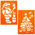 Giant Plastic stencils for kids 23x33 cm Santa and Christmas tree x2