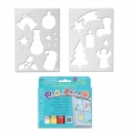 Playcolor Window One - 6 solid poster paint sticks for window and 2 Christmas stencils
