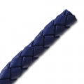 Braided leather cord 6 mm Electric Blue x 50 cm