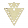Metal triangle pendant ethnic decoration 45 mm gold tone x2