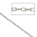 Tin chain rectangle links 4x7.5 mm rhodium tone x 50 cm