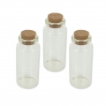 Bottle glass with cork top 70x30 mm x3