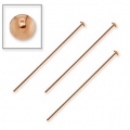 925 Sterling Silver head pin 50x3x0,85 mm Rose Gold Tone x5
