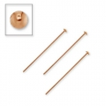 925 Sterling Silver head pin 40x3x0,85 mm Rose Gold Tone x5