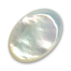 Oval cabochon 30x22 mm White Mother-of-Pearl