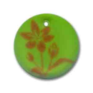 Resin Sequin Flowers 19mm Green matt x2