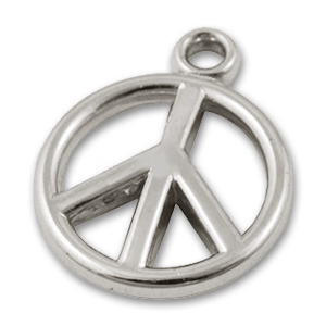 CCB Peace charm 19mm Rhodium tone x 10
