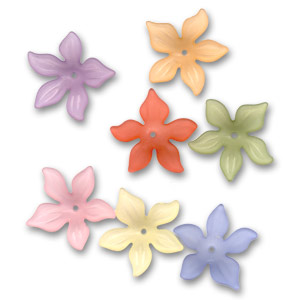 Set of Flowers 27mm Frosted Multicoloured x20