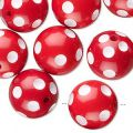 Synthetic round bead 16mm Red White dots x1