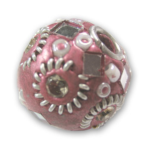 Round bead with strass 20mm Old Pink